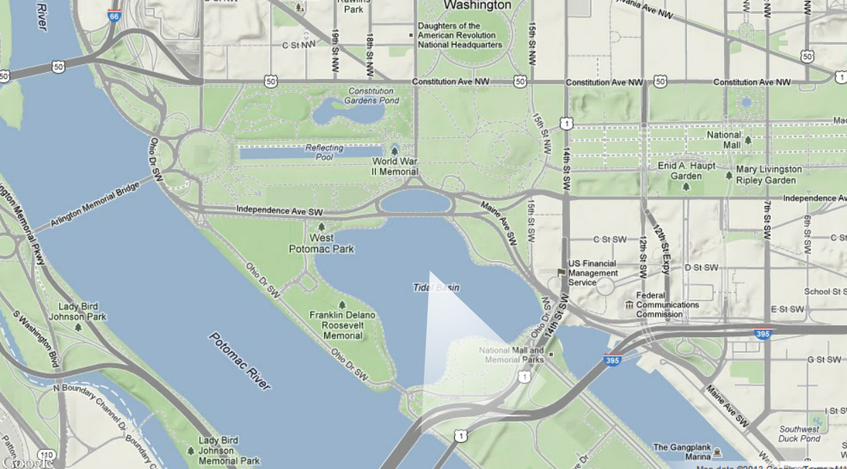 map of washington d c with 25 ft of sea level rise