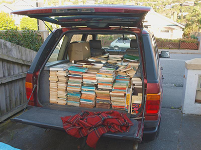 A car full of books