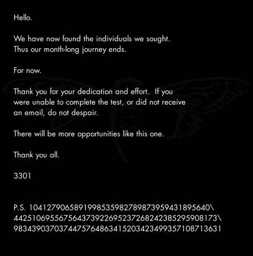 The final message from Cicada 3301 in 2012