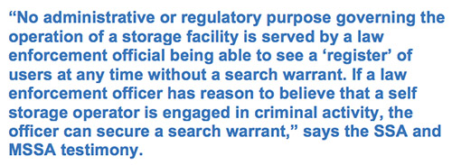 No administrative or regulatory purpose governing the operation of a storage facility is served by a law enforcement official being able to see a 'register' of users at any time without a search warrant. If a law enforcement officer has reason to believe that a self storage operator is engaged in criminal activity, the officer can secure a search warrant
