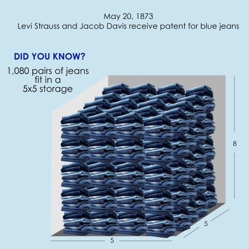 A number of pairs of jeans in a 5x5 storage unit.