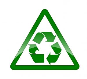 A recycling symbol.