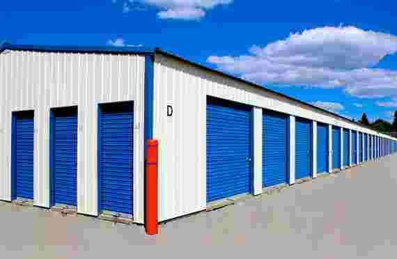 Small and large closed outside storage units at Keylock Storage at 9906 N Government Way, Hayden, ID