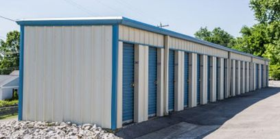 White and blue drive-up storage units