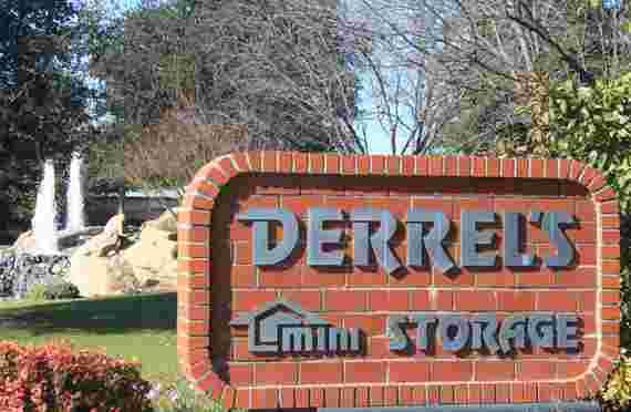 Front office sign at Derrels storage at 6235 W Spruce Ave, Fresno, CA
