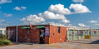 The front office of Lockaway Storage at 3009 & FM 78 is built directly into the end of building 3.