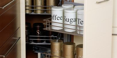 Slide a shelf between your refrigerator and your wall for spice storage | Airport Village