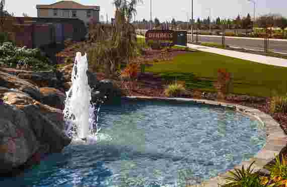 Fountain at front entrance to Derrels Storage at 3170 E Shaw Ave, Clovis, CA