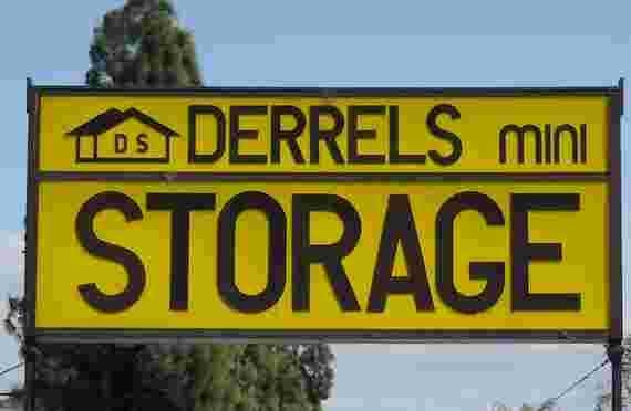 Sign at front of entrance to Derrels storage at 3505 Elkhorn Blvd, North Highlands, CA